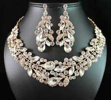 WEEPING WILLOW AUSTRIAN RHINESTONE CRYSTAL NECKLACE EARRINGS SET N1781-GOLD