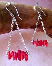 EARRINGS, SYNTHETIC RED CORAL ON SILVERTONE CHAIN