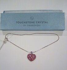 Swarovski Heart Pendant Women's Necklace - Pink, Rhodium Plated