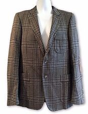 GUCCI MEN'S GRAY CHECK WOOL BLAZER, ELBOW PATCHES, 50, $2650
