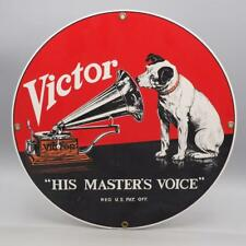 Victor His Masters Voice Porcelain Enamel RCA USA Ande Andy Rooney Sign
