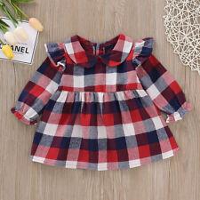 b1f54aee2 UK Infant Newborn Baby Girls Tartan Ruffle Toddler Skirt Flare Sleeve Dress  Tutu