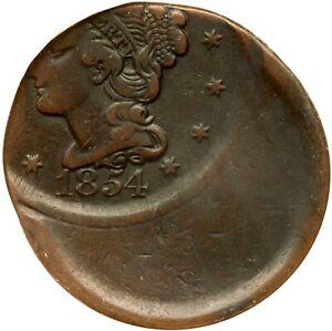1854 N-13 R-3+ ANACS VF 20 45% Off Center Braided Hair Large Cent Coin 1c