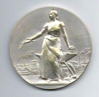 Art Nouveau woman standing metallurgic company silver plated medal Dautel / M46