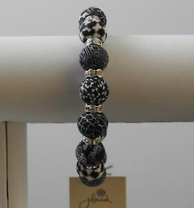 Jilzara Black White Medium Crystal Bracelet Polymer Clay Beads Handcrafted B10