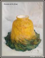 """Tulipe en pâte de verre  """"dans le goût de Clichy"""" jaune dégradé vert"""