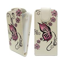 CASE FOR IPHONE 4 4S FLIP PU LEATHER WHITE PINK BUTTERFLY FLOWER POUCH COVER
