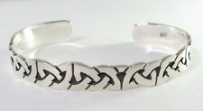 "925 sterling silver cuff bracelet Celtic knot design matte finish 3/8"" wide"