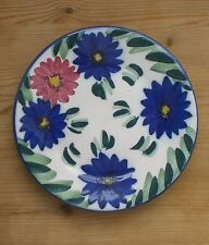 Hand Painted  Floral Design Plate  Pink and Blue   diameter 18cm