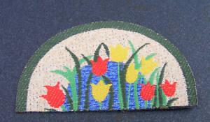 1:12 Scale Dolls House Half Round Tulip Pattern Carpet Hearth Rug Accessory 647