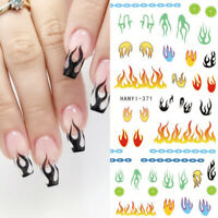 3D Nail Stickers Blaze Pattern Transfer Decals Nail Art Decoration Paper Tips