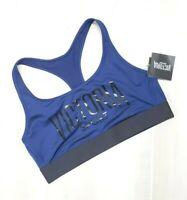 Victoria's Secret Sports Bra Large Blue Black Logo Unlined Wireless The Player