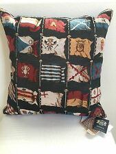 """Authentic New HINES OF OXFORD ENGLAND FINE TAPESTRY PILLOW CUSHION FLAGS 16"""""""