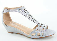 NEW Women's Sexy Bridal Open Toe Glitter Rhinestone Wedge Party Shoes Size 5 -10