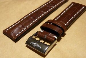 New Breitling Alligator Croco Strap Brown 22mm 22-20 Polished Tang Buckle 739P