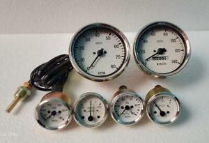 Smiths Kit 100mm Speedo + Tacho +52mm Temp Oil Pressure Fuel  Amp Gauge Replica