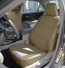 TOYOTA CAMRY 2012-2016 BEIGE IGGEE S.LEATHER CUSTOM MADE FIT FRONT SEAT COVER
