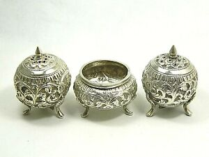 One of a Kind Antique 900 Coin Silver Repousse Hand Made Salt & Pepper Shakers