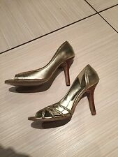 SCHUH LADIES GOLD LEATHER Heels Size 3/36
