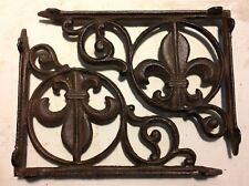 SET OF 2 FLEUR DE LIS SHELF BRACKET BRACE, Antique Brown Finish cast iron