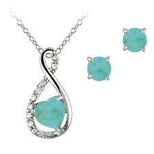 Sterling Silver Simulated Turquoise & Diamond Swirl Heart Necklace Earrings Set