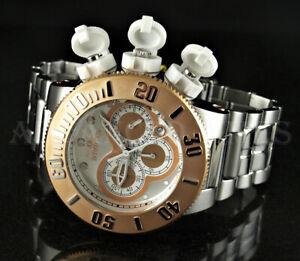 Invicta 52mm Subaqua Sea Dragon Chronograph Rose Gold Bezel Silver Tone Watch