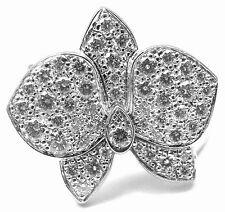 Authentic! Cartier Caresse D'orchidées Orchid Flower 18k White Gold Diamond Ring