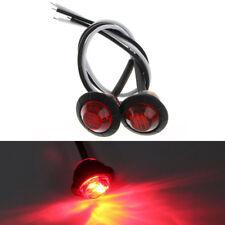 "2X Mini Red 3/4"" Round Side 3 LED Marker Trailer Car Bullet Light Waterproof"
