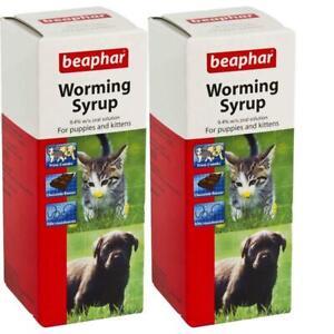 Beaphar Ascaris Déparasitage Sirop Choc Chiot Chaton Vermifuge Soin 45ml X 2