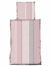 4 tlg Bettwäsche 135x200 cm Quadrat Geometrisch altrosa rosa grau Microfaser