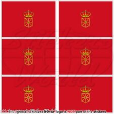 "NAVARRE Flag SPAIN Navarra, Nafarroa Spanish 40mm(1,7"") Vinyl Stickers Decals x6"