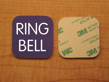 Engraved 2x2 Purple RING BELL Plastic Tag Sign Plate Doorbell Plate Door Plaque