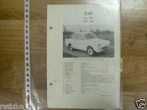 DA2A-DAF TYPE 600 1959-1960 -TECHNICAL INFO CLASSIC CAR VINTAGE OLDTIMER