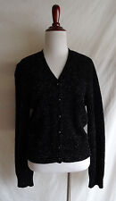 Ann Taylor M Sparkling Shimmering Fuzzy Black Formal Cardigan Dressy Sweater