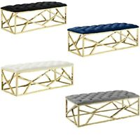Velvet Button Tufted Bench Gold Stainless Abstract Base-Blue Black Gray Ivory