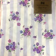 Vintage NOS NORCROSS Wrapping Paper FLORAL. PURPLE PANSY STRIPE