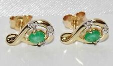 9ct Gold Emerald & Diamond Stud Earrings - NEW - Solid 9K Gold
