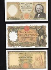 3 Riproduzioni Banconota 100000 Marconi,50 Buoi,50000 Leonardo - Lire Italiane