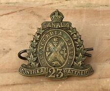 Antique Wwi Canada Montreal 23rd Battalion Cef Cap Collar Badge Insignia