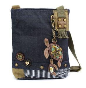 Chala Purse Handbag Denim Canvas Crossbody  with Key Chain Tote  Twin Turtles
