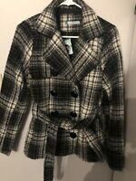 Maurices Womens Pea Coat Jacket Size Medium Plaid New With Tags Black Gray White