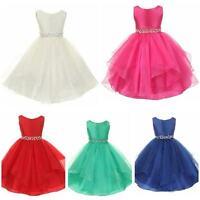 Stunning Girls Diamante Waist Flower Girls Bridesmaid Prom Pageant Dress