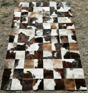 NEW COWHIDE PATCHWORK CARPET AREA RUG Cow hide BRINDLE WHITE EXCLUSIVE