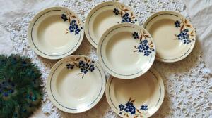 6 Assiettes creuses Badonviller Décor Bleu Fleurs Demi Porcelaine Période 1923