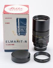 (36) MINT Leica Elmarit-R 180/2.8 11909 3-cam lens w/caps hood box