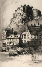 'Edinburgh Castle' c1920s signed etching by Albany E. Howarth