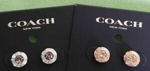 COACH OPEN CIRCLE STONE STRAND EARRINGS:NWT ROSE GOLD or SILVER