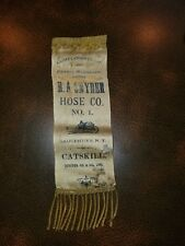 Rare 1800s Ira P. Lowe Clinton Hose Co. No.7  Kingston NY Fire Dept. Ribbon