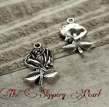 10 Flower Charms Antiqued Silver Rose Pendants Garden Charms