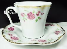 Turkish Anatolian Porcelain Coffee Set Gold and Floral Design 6 Cups 6 Saucers